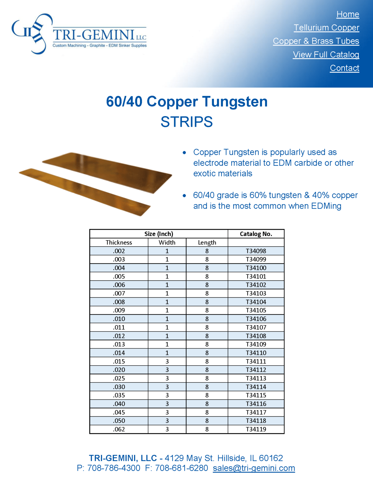 Copper Tungsten Strips