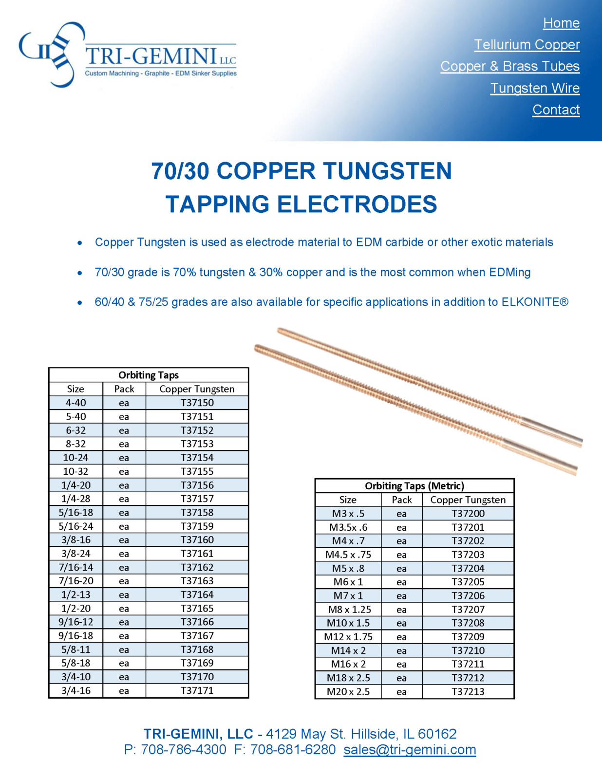 Copper Tungsten Tapping Electrodes