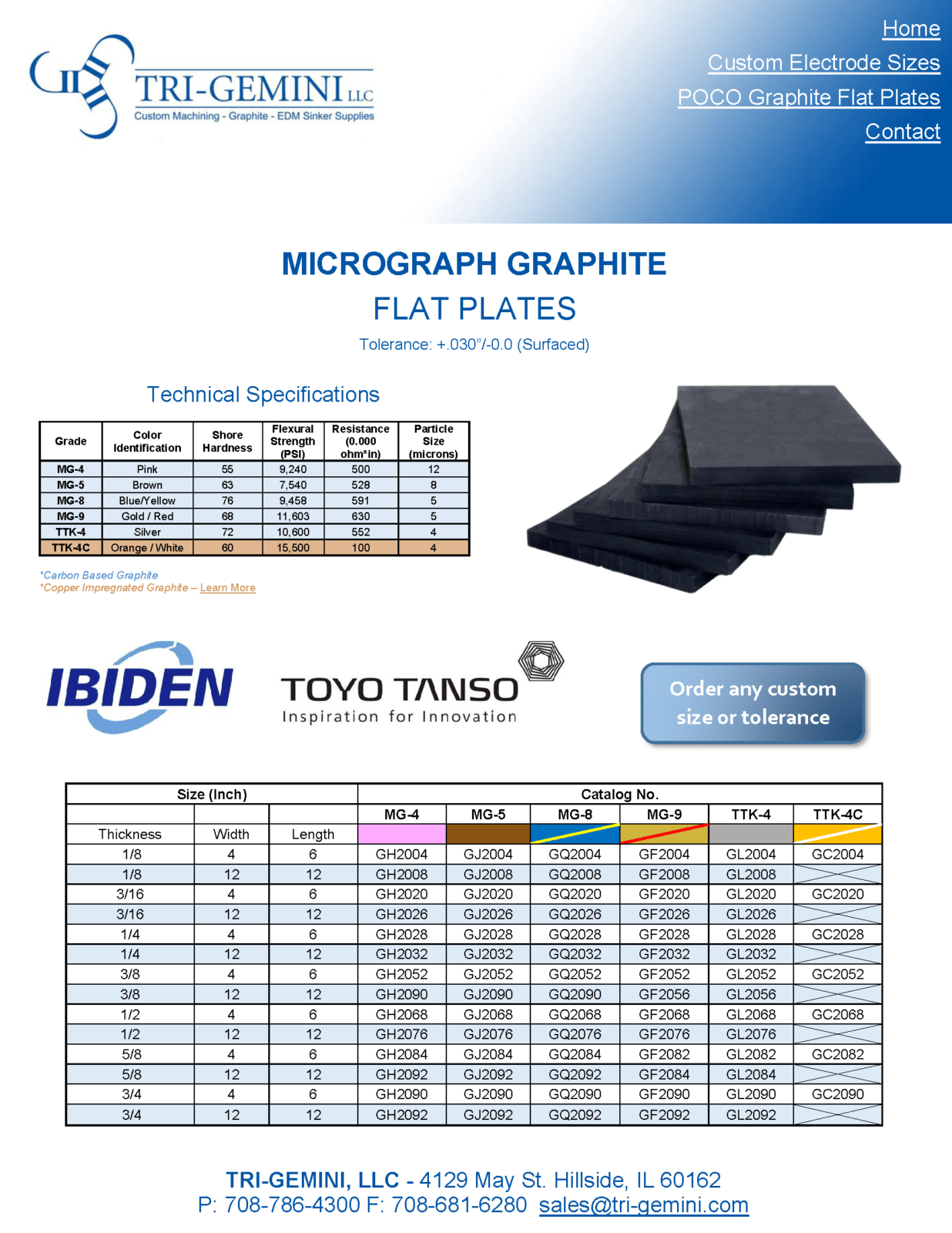EDM Graphite  Flat Plate Electrode Toyo Tanso Flat Plates